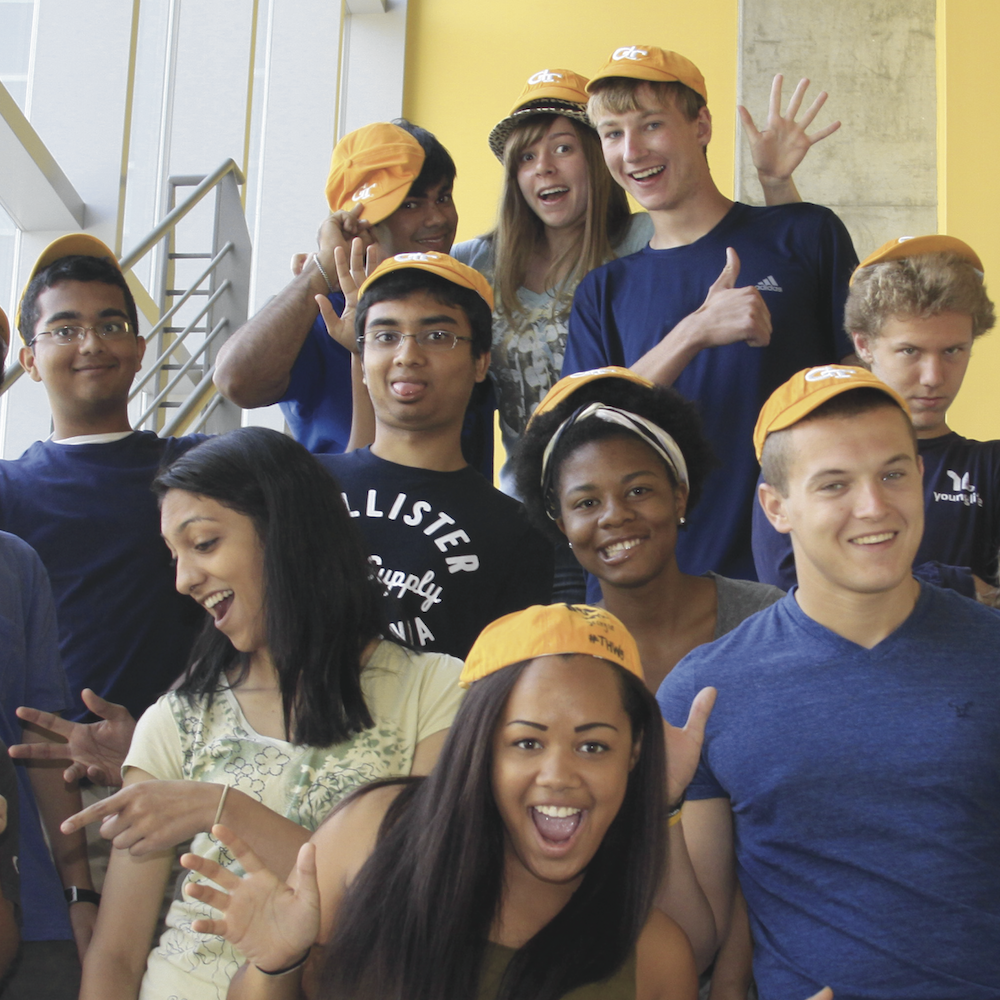 Several GT1000 students wearing their Rat Caps.
